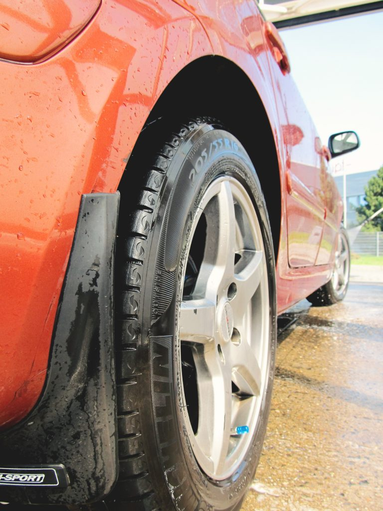red-water-car-tire