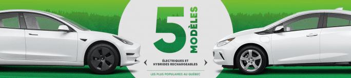 Les 5 modèles électriques et hybrides rechargeables les plus populaires au Québec