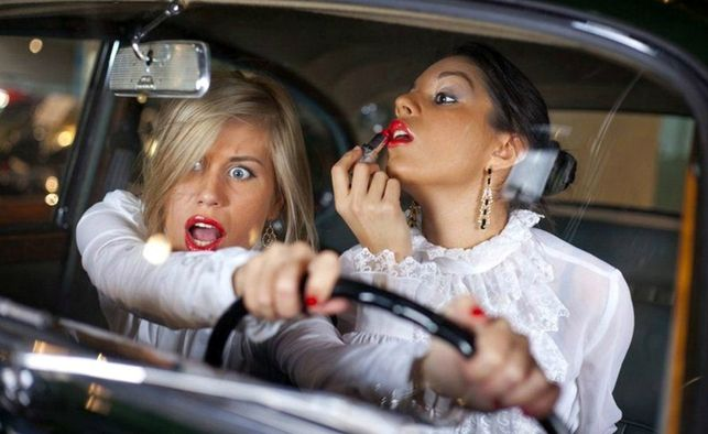 Image result for eating, driving, putting on makeup